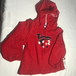 Tommy Hilfiger girls red front zip hoodie 3T NWT